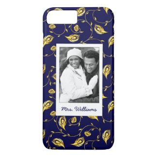 Add Your Photo | Dark Blue Peacock Pattern iPhone 8 Plus/7 Plus Case