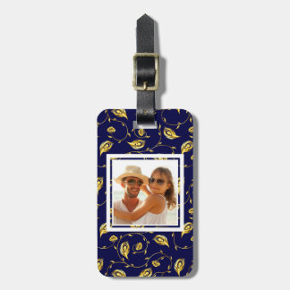 Add Your Photo | Dark Blue Peacock Pattern Luggage Tag