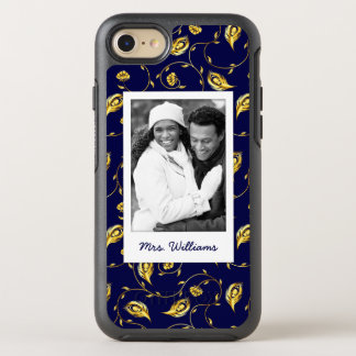 Add Your Photo | Dark Blue Peacock Pattern OtterBox Symmetry iPhone 8/7 Case