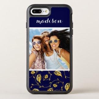 Add Your Photo | Dark Blue Peacock Pattern OtterBox Symmetry iPhone 8 Plus/7 Plus Case