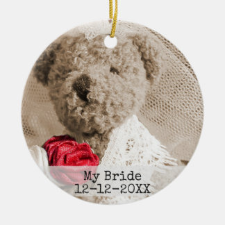 Add your Photo Double Sided Wedding Photo Ceramic Ornament
