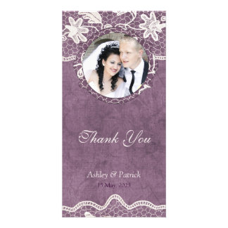 Add Your Photo Elegant Lace on Violet Background T Custom Photo Card