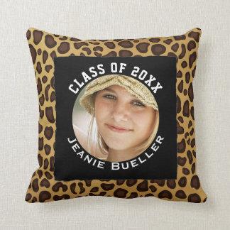 Add Your Photo Graduation Keepsake | Leopard Print Throw Pillow