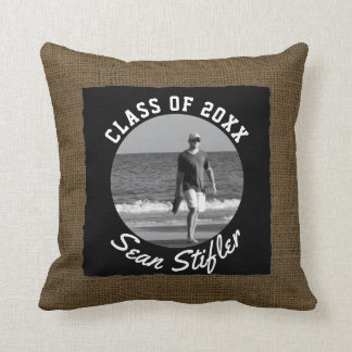 Add Your Photo Graduation Keepsake | Rustic Burlap Throw Pillow