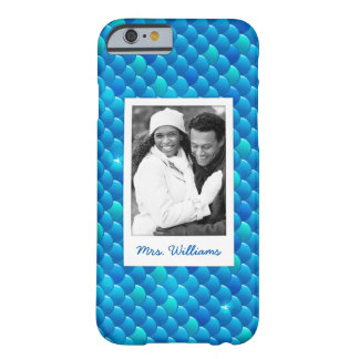 Add Your Photo | Neon Blue Fish Scales Barely There iPhone 6 Case