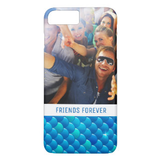 Add Your Photo | Neon Blue Fish Scales iPhone 8 Plus/7 Plus Case