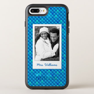 Add Your Photo | Neon Blue Fish Scales OtterBox Symmetry iPhone 8 Plus/7 Plus Case