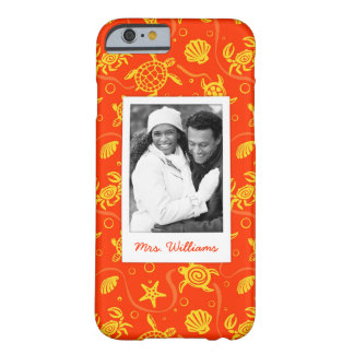 Add Your Photo | Orange Beach Pattern Barely There iPhone 6 Case
