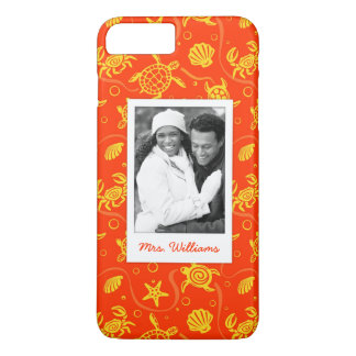 Add Your Photo | Orange Beach Pattern iPhone 8 Plus/7 Plus Case