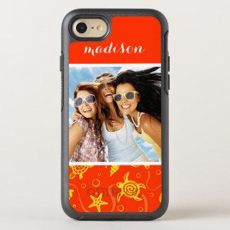 Add Your Photo | Orange Beach Pattern OtterBox Symmetry iPhone 8/7 Case