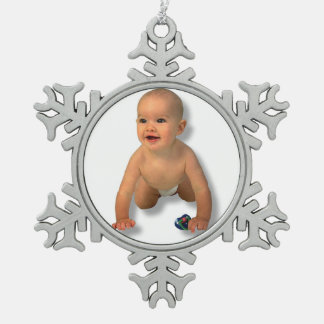 ADD YOUR PHOTO -ORNAMENT SNOWFLAKE PEWTER CHRISTMAS ORNAMENT