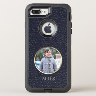 Add your photo OtterBox Faux Navy Leather Monogram OtterBox Defender iPhone 7 Plus Case