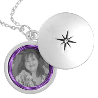 Add your photo purple Frame Silver Plated Necklace