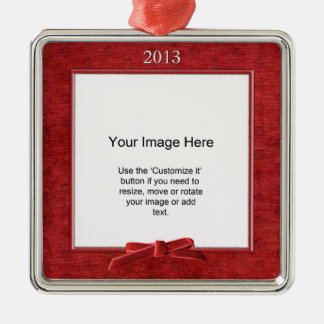 Add Your Photo - Red Chenille Square Template Metal Ornament