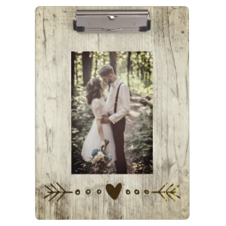 Add your photo rustic wood texture clipboard