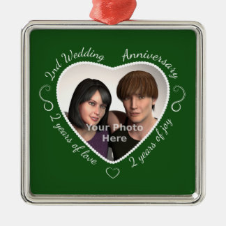Add Your Photo Second Anniversary Metal Ornament