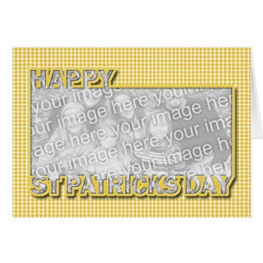 ADD YOUR PHOTO St Pats Cut Out Frame Yellow Clover Greeting Card