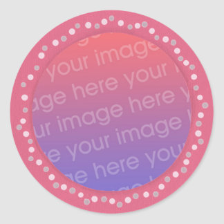 Add your photo stickers, pink dots circle frame round sticker