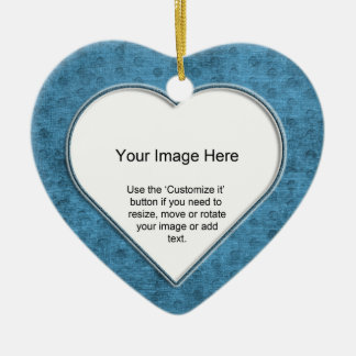 Add Your Photo - Teal Chenille Heart Template Ceramic Ornament