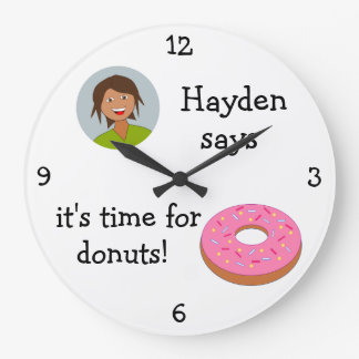 Add Your Photo: 'Time for Donuts' Large Clock