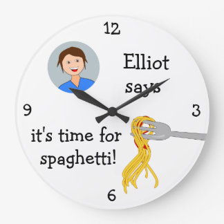 Add Your Photo: 'Time for Spaghetti' Large Clock