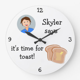 Add Your Photo: 'Time for Toast' Large Clock