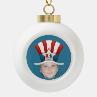 Add Your Photo To A USA Stars & Stripes Hat Ceramic Ball Ornament