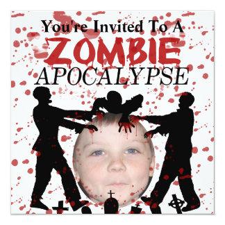 Add Your Photo To A Zombie Apocalypse Invasion 5.25x5.25 Square Paper Invitation Card