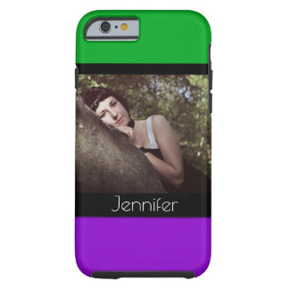 Add Your Phototo & Name with Green, Purple, Black Tough iPhone 6 Case