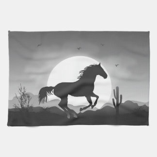 Add Your Text Horse in Black and White Silhouette Kitchen Towel