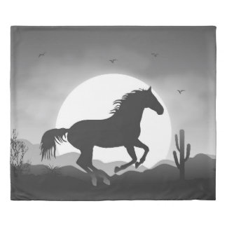 Add Your Text Horse Silhouette Sunset Duvet