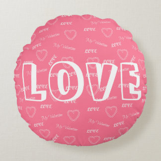 Add your text love Valentine's Day message pretty Round Pillow
