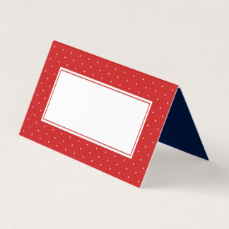 Add Your Text Modern Red and White Polka Dot Place Card