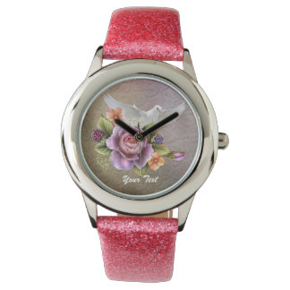 Add Your Text Pink Glitter Watch