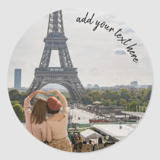 Add your travel photo and custom text template classic round sticker