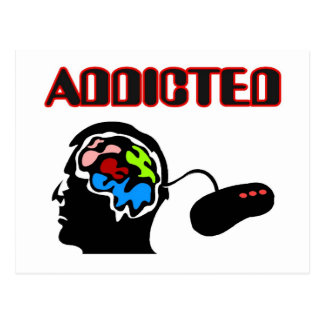 Addicted-Gamer Brain Plug In Postcard