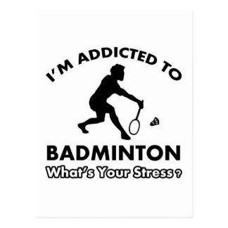 addicted to badminton postcard