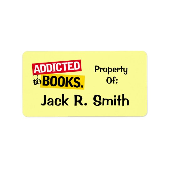 Addicted To Books Label Bookplate Stickers Gift