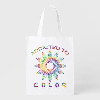 Addicted to Color Rainbow Mandala for Colorists Reusable Grocery Bag