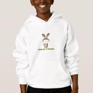 Addicted to Reading Book Bunny Hoodie Sweatshirt