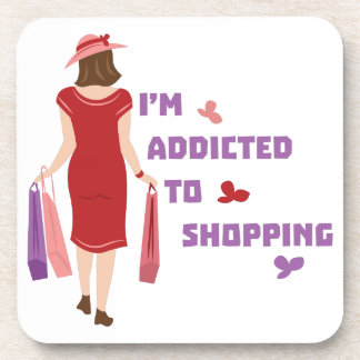 Addicted To Shopping Beverage Coasters