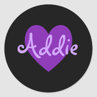 Addie in Purple Classic Round Sticker