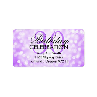 Address 30th Birthday Party Purple Glitter Lights