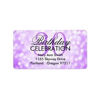 Address 30th Birthday Party Purple Glitter Lights Address Label