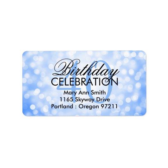 Address 40th Birthday Party Blue Glitter Lights Label
