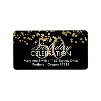 Address 50th Birthday Gold Foil Confetti Label