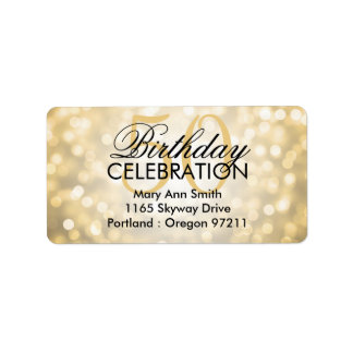 Address 50th Birthday Party Gold Glitter Lights Label