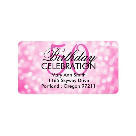 Address 50th Birthday Party Pink Glitter Lights