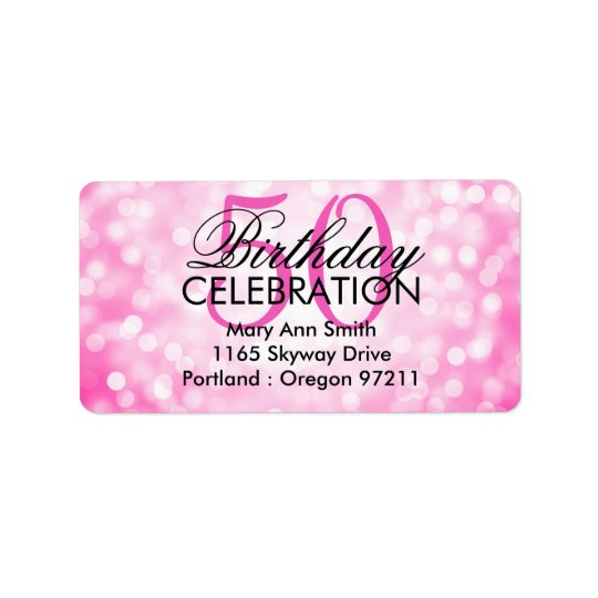 Address 50th Birthday Party Pink Glitter Lights Label