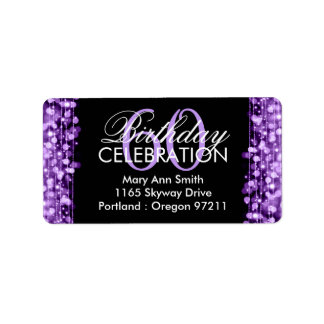 Address 60th Birthday Party Sparkles Purple